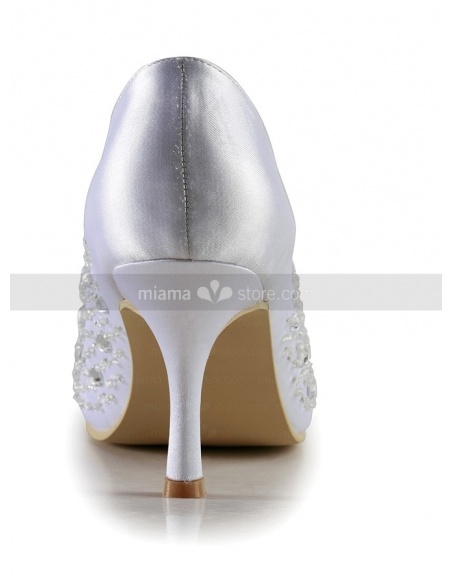 Peep toe Satin Hot drilling Rubber sole Wedding shoes