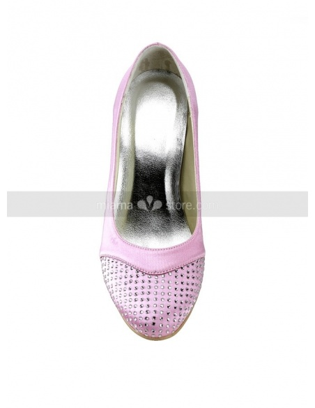 Round toe Satin Hot drilling Rubber sole Wedding shoes