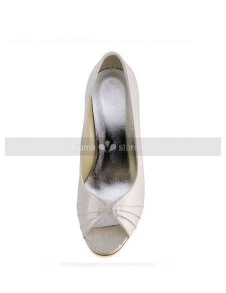 Peep toe Satin Rubber sole Wedding shoes