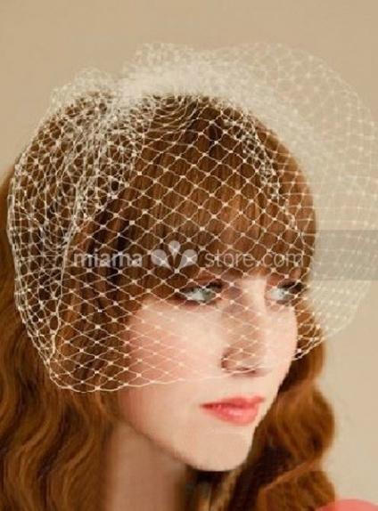 White Tulle Wedding Bridal Headpiece