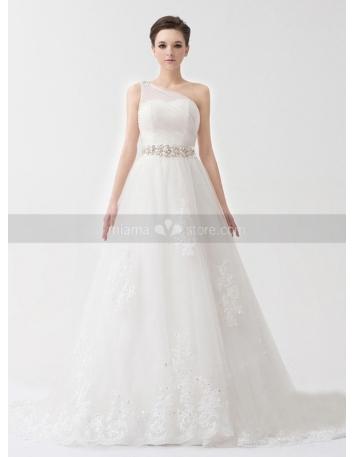 ROCHELLE - A-line Empire waist Chapel train Tulle Satin One shoulder Weeding dress