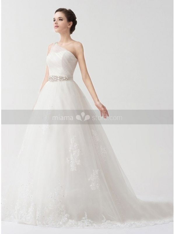 A line empire waist chapel train tulle satin one shoulder for Empire a line wedding dress