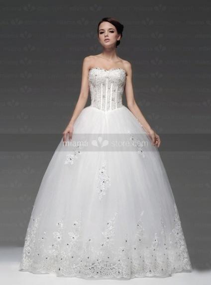 RIVA - A-line Empire waist Basque waist Floor length Tulle Satin Strapless Weeding dress