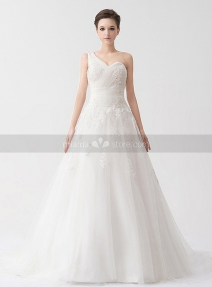 REMY - A-line Empire waist Chapel train Tulle Satin One shoulder Weeding dress