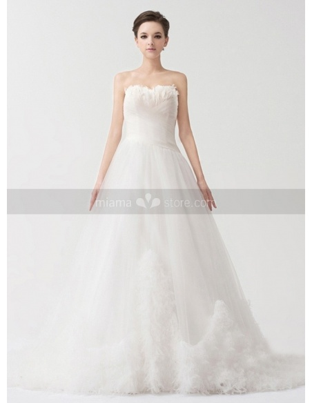LSABELLA - A-line Strapless Chapel train Tulle Satin Strapless Weeding dress