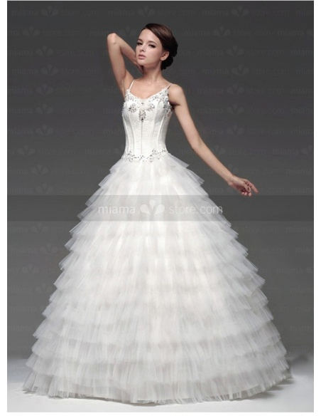 MELISSA - A-line Empire waist Spaghetti straps Floor length Tulle Satin V-neck Weeding dress