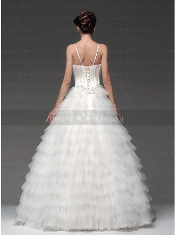 A line empire waist spaghetti straps floor length tulle for Empire waist tulle wedding dress
