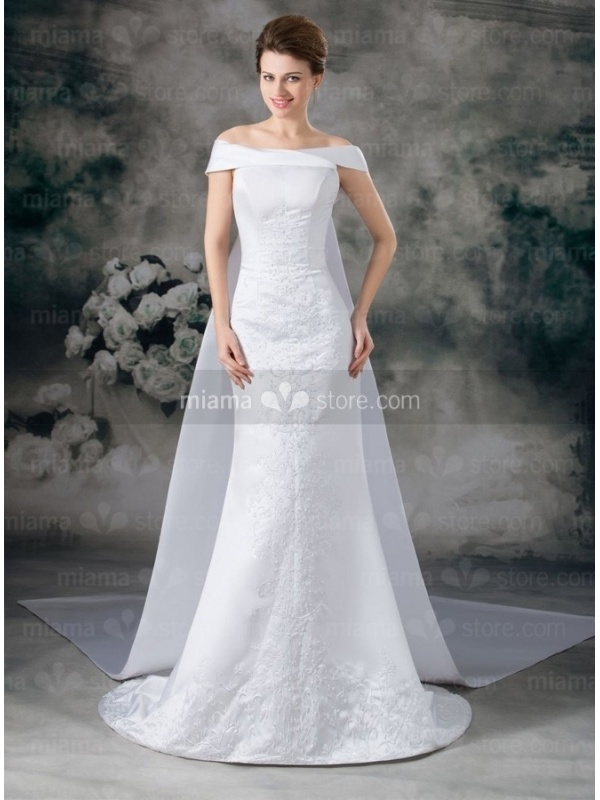 A-line Off the shoulder Watteau train Satin Wedding dress