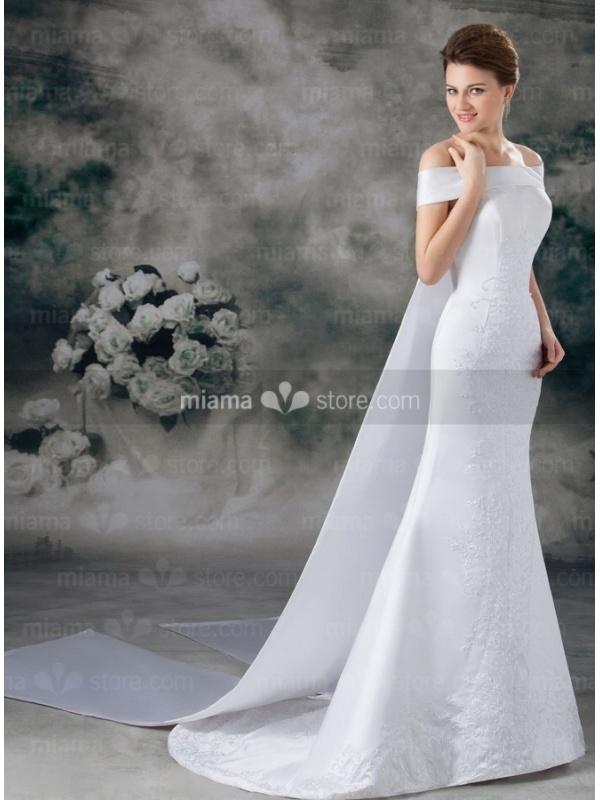 A-line Off the shoulder Watteau train Satin Wedding dress