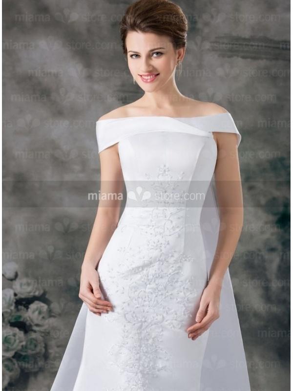 A line off the shoulder watteau train satin wedding dress for Off the shoulder satin wedding dress