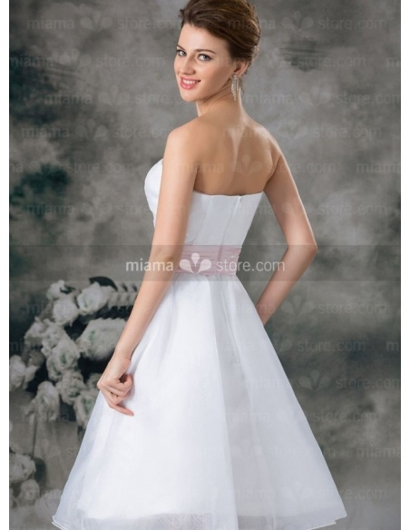 DAISY - Bridesmaid Cheap Princess Knee length Organza Strapless Wedding party dress