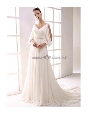 NIKOL - Empire waist V-neck Cheap Princess Chapel train Chiffon Beaded Wedding dress