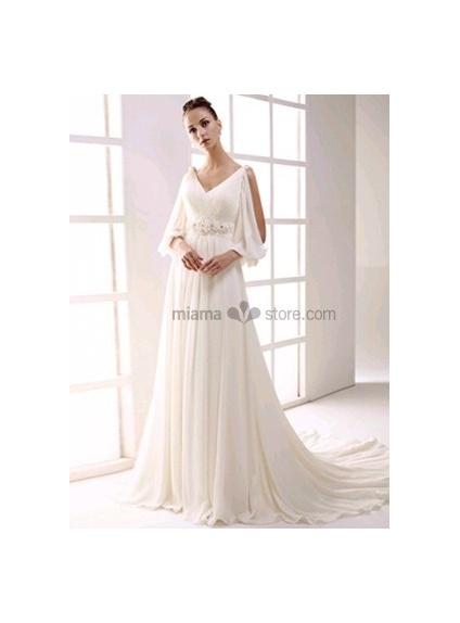 NIKOL - Empire waist V-neck Cheap Princess Chapel train Chiffon Beaded Wedding dress