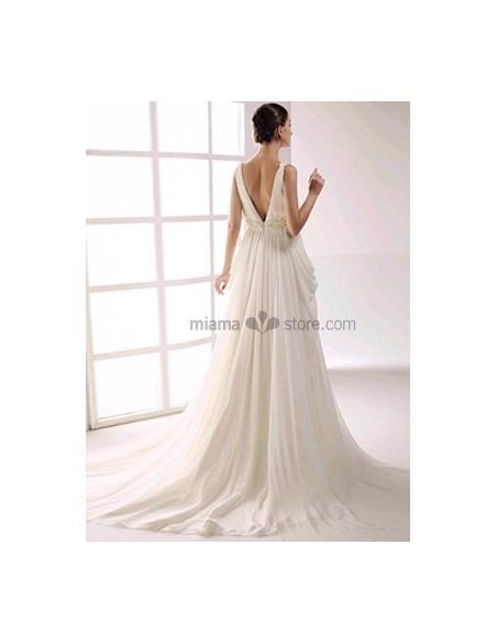 GABRIELA - Empire waist V-neck Cheap Princess Chapel train Chiffon Beaded Wedding dress