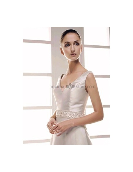 SIMONA - Empire waist V-neck Cheap A-line Chapel train Taffeta Beaded Wedding dress