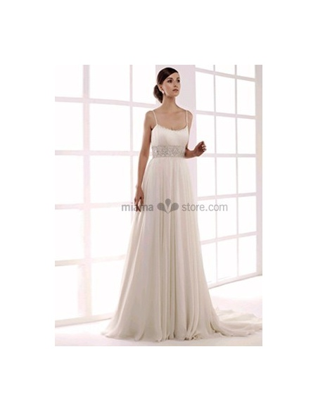 NEJLA - Spaghetti straps Empire waist Cheap Princess Chapel train Chiffon Beaded Low round/Scooped neck Wedding dress