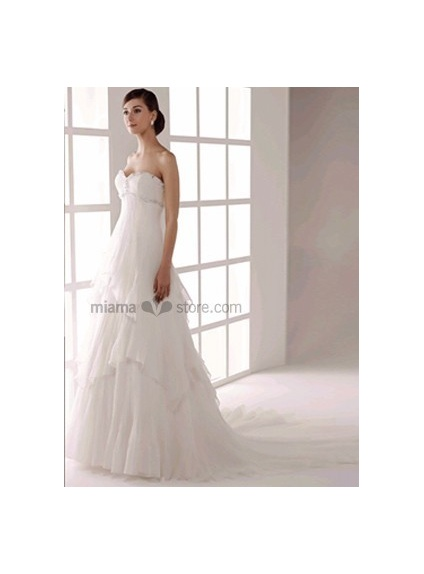 JOANA - Empire waist Sweetheart Cheap A-line Chapel train Organza Beaded Wedding dress