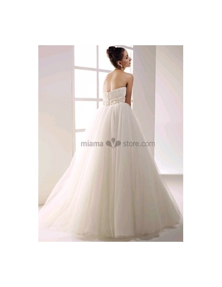 GERGANA - Empire waist Strapless Princess Floor length Tulle Beaded Wedding dress