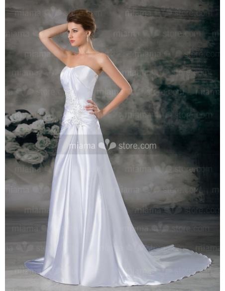 EDWINA - A-line Mermaid Sweetheart Chapel train Printed satin Wedding dress