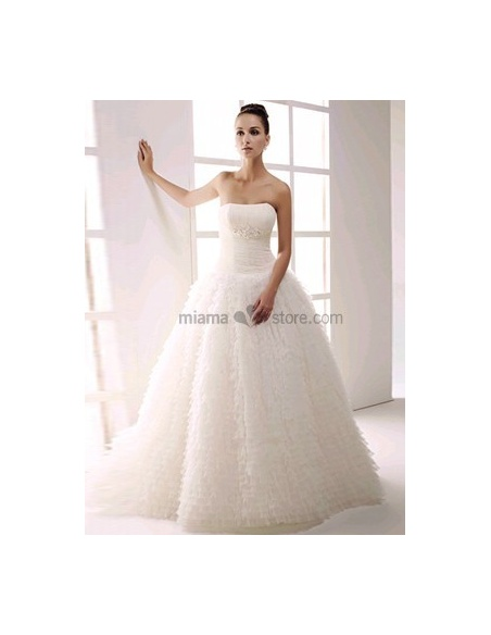 6422cc5df642 MAGDALENA - Strapless Ball gown A-line Floor length Tulle Beaded Wedding  dress
