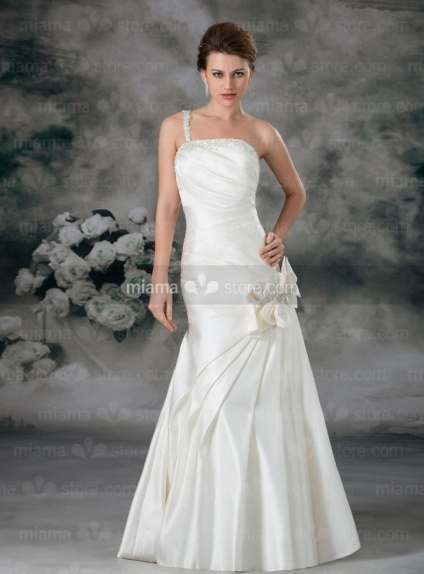 EILEEN - A-line Strapless Cheap Floor length Satin Wedding dress