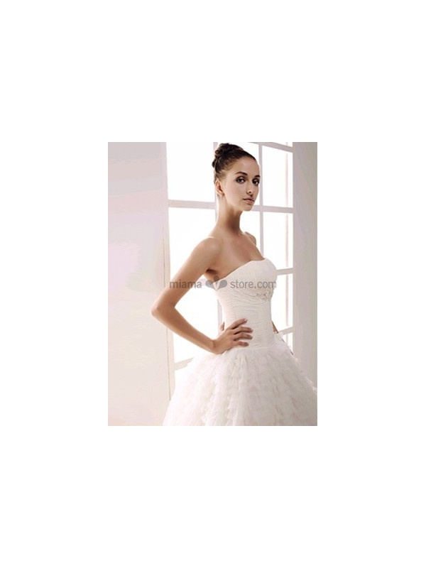 2724961da234 Strapless Ball gown A-line Floor length Tulle Beaded Wedding dress