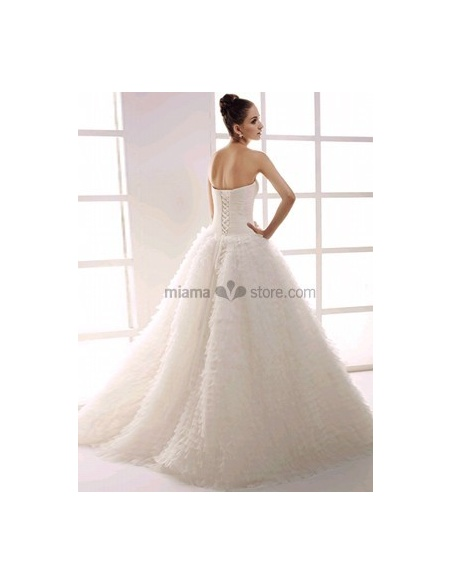MAGDALENA - Strapless Ball gown A-line Floor length Tulle Beaded Wedding dress