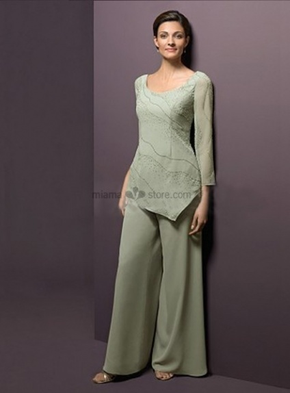 NOOR - Mother of the bride Sheath/Column Floor length Chiffon Beaded Low round/Scooped neck Wedding party dress