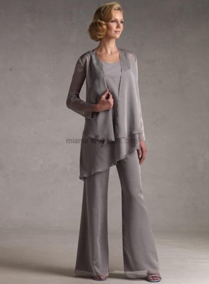 FIEN - Mother of the bride Sheath/Column Floor length Chiffon Low round/Scooped neck Wedding party dress