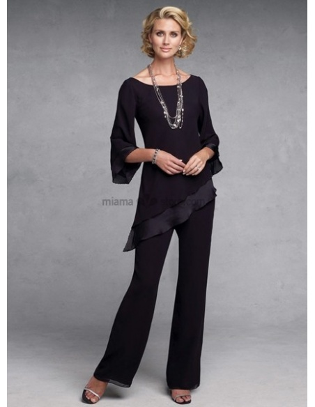 MANON - Mother of the bride Sheath/Column Floor length Chiffon Low round/Scooped neck Wedding party dress