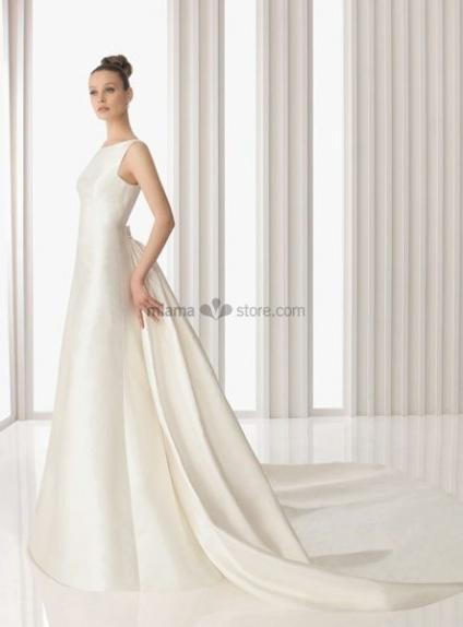 HELLE - A-line Empier waist Cheap Watteau train Satin High round/Slash neck Wedding dress
