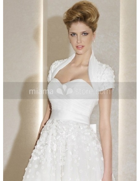 Short Sleeves Organza Bridal jacket Wedding wrap