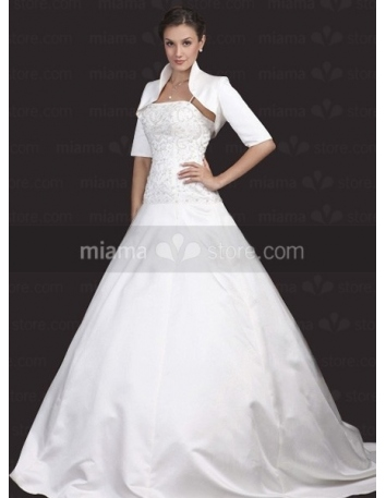 Short Sleeves Satin Bridal jacket Wedding wrap