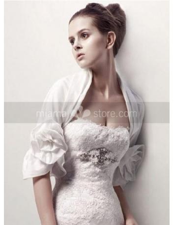 Half Sleeves Taffeta Bridal jacket Wedding wrap