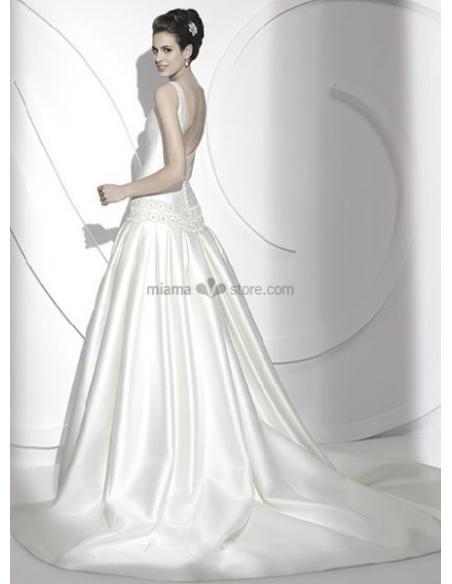 NOUR - A-line Cheap Chapel train Satin Square neck Wedding dress