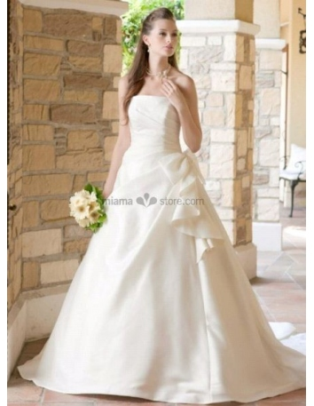 CHARLOTTE - A-line Strapless Cheap Chapel train Satin Wedding dress
