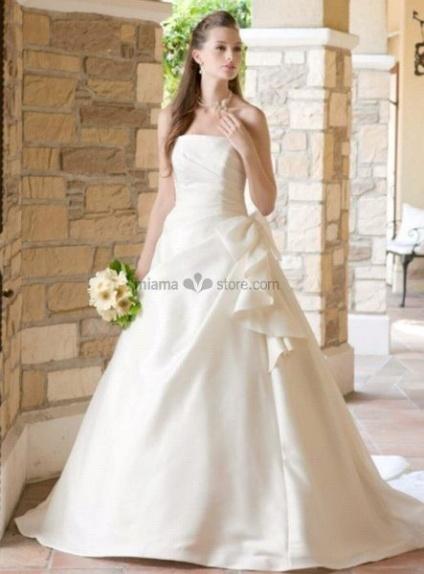 CHARLOTTE - A-line Strapless Cheap Chapel train Satin Wedding dress