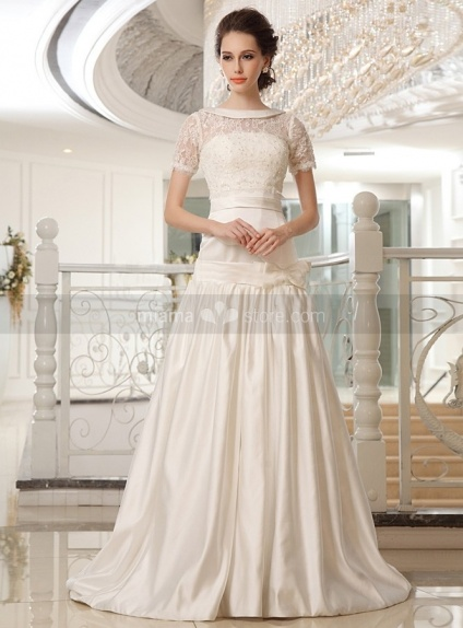 NICOLE - A-line Strapless Chapel train Satin Lace High round/Slash neck Wedding dress