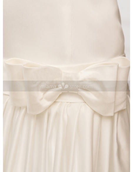 NICOLE - A-line Strapless Chapel train Satin Lace High round/Slash neck Wedding dress