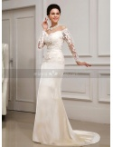 MEGAN - Mermaid V-neck Off the shoulder Chapel train Satin Lace Wedding dress