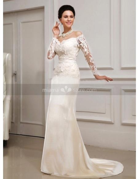 MEGAN - Mermaid V-neck Off the shoulder Chapel train Satin Lace Wedding dress
