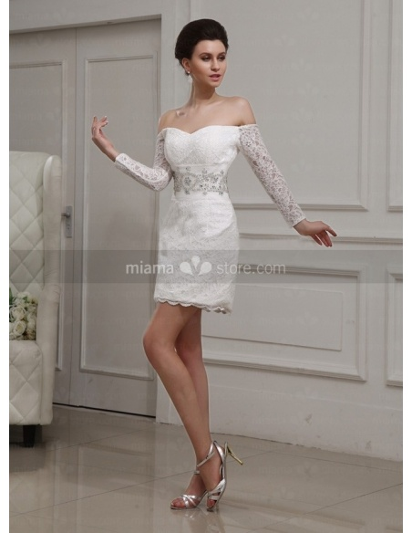 AMANDA - V-neck Short Off the shoulder Sheath/Column Tulle Lace Wedding dress
