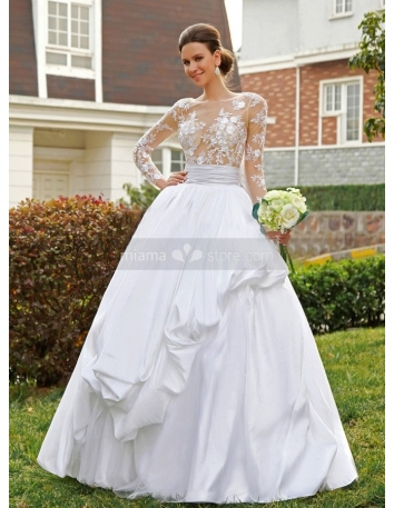 ASHLEY - A-line Ball gown Empire waist Floor length Satin Lace High round/Slash neck Wedding dress