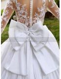 ASHLEY - A-line Ball gown Empire waist Floor length Satin Lace High round/Slash neck Wedding dress