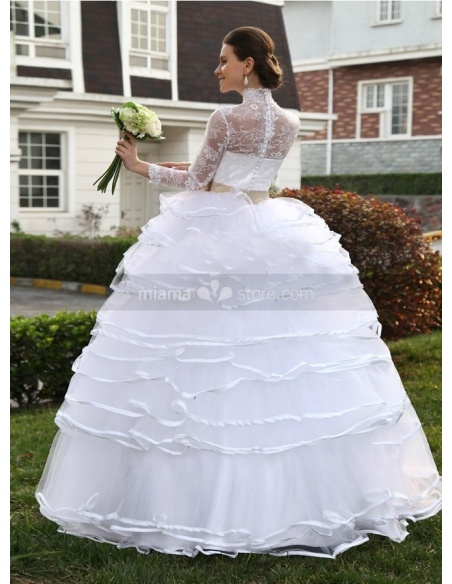JESSICA - A-line Ball gown Empire waist Floor length Organza Lace High round/Slash neck Wedding dress
