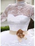 JESSICA - A-line Ball gown Empire waist Floor length Organza Lace High round/Slash neck Wedding dress