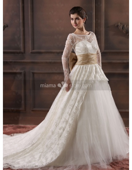 JENNIFER - A-line Sweetheart Empire waist Chapel train Tulle Lace High round/Slash neck Wedding dress