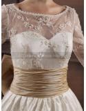 JENNIFER - A-line Sweetheart Empire waist Chapel train Tulle Lace High round/Slash neck Wedding dress
