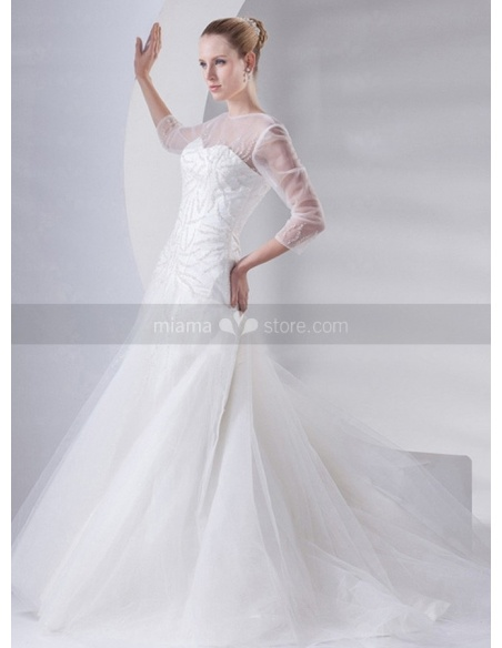 ABIGAIL - A-line Mermaid Chapel train Organza High round/Slash neck Wedding dress