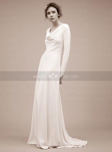 OLIVIA - A-line V-neck Chapel train Imitation silk Wedding dress